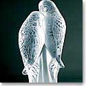 Lalique Crystal, Two Parakeets Sculpture, Clear