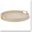 Aerin Carina Croc Leather Small Round Tray, Fawn