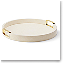 Aerin Carina Shagreen Small Round Tray, Cream