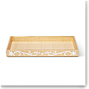 Aerin Valentina Embroidered Raffia Vanity Tray, Natural