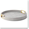 Aerin Carina Shagreen Small Round Tray, Dove