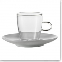 Jenaer Glas Espresso Cup With Porcelain Saucer, Pair