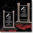 "Crystal Blanc, Personalize! 7.75"" Vertical Brass Column Award"