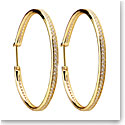 Cashs Ireland, Gold and Crystal 43.5mm Hoop Pierced Earrings