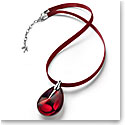 Baccarat Crystal Psydelic Medium Pendant Necklace Sterling Silver Iridescent Red