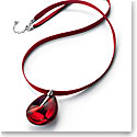 Baccarat Crystal Psydelic Large Pendant Necklace Sterling Silver Iridescent Red