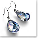 Baccarat Crystal Psydelic Wire Earrings Sterling Silver Iridescent Clear