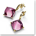 Baccarat Crystal Medicis Stem Earrings Vermeil Gold Pink