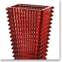 Baccarat Crystal, Eye Rectangular Large Crystal Vase, Red