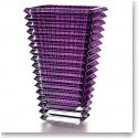 "Baccarat Crystal, Eye 11 3/4"" Rectangular Large Vase, Amethyst"
