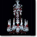 Baccarat Crystal, Zenith Red and Clear 12 Light Crystal Chandelier, Long