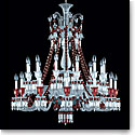 Baccarat Crystal, Zenith Red and Clear 24 Light Chandelier, Short