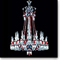 Baccarat Crystal, Zenith Red and Clear 24 Light Crystal Chandelier, Long