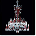 Baccarat Crystal, Zenith Red and Clear 36 Light Chandelier