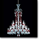 Baccarat Crystal, Zenith Red and Clear 48 Light Chandelier