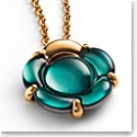 Baccarat B Flower Small Necklace, Green Mordore and Gold Vermeil