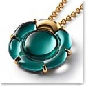 Baccarat Crystal B Flower Large Necklace, Green Mordore and Gold Vermeil