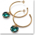 Baccarat Crystal B Flower Hoop Earrings, Green Mordore and Gold Vermeil