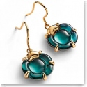 Baccarat Crystal B Flower Wire Earrings, Green Mordore and Gold Vermeil