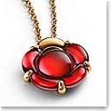 Baccarat Crystal B Flower Small Necklace, Red Mirror and Gold Vermeil