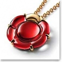 Baccarat Crystal B Flower Large Necklace, Red Mirror and Gold Vermeil