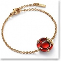 Baccarat Crystal B Flower Bracelet, Red Mirror and Gold Vermeil