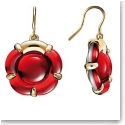 Baccarat Crystal B Flower French Hook Gold Vermeil Red Mirror Earrings, Pair