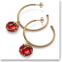 Baccarat Crystal B Flower Hoop Earrings, Red Mirror and Gold Vermeil