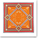 "Baccarat Louxor Silk Twill Scarf Carre 39"" X 39"", Orange"