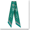 Baccarat Scarf Wool And Silk Louxor Maxi Twilly 3'' X 40'' Green