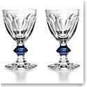 Baccarat Crystal, Harcourt 1841 with Blue Knob Crystal Goblet, Pair