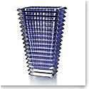Baccarat Crystal, Small Eye Rectangular Crystal Vase, Blue
