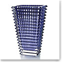 Baccarat Crystal, Eye Large Rectangular Crystal Vase, Blue