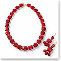 Baccarat A l'Or Rouge and Gold Necklace, Earrings Set