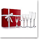 Baccarat Crystal, Cocktail Champagne Flutes Bubble Box, Gift Boxed Set of Six