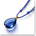 Baccarat Crystal Marie-Helene De Taillac Pendant Necklace Vermeil Gold Blue