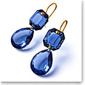 Baccarat Crystal Marie-Helene de Taillac Earrings Pear Large Size Yellow Gold Blue Crystal