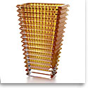 Baccarat Crystal, Eye Rectangular Large Vase, Amber