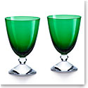 Baccarat Crystal Vega Small Green Glass Pair