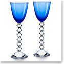 Baccarat Crystal Vega Rhine Wine Blue Glass Pair