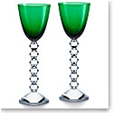 Baccarat Crystal Vega Rhine Wine Green Glass Pair