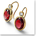 Baccarat Croise Earrings Vermeil Gold Pair, Red