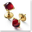 Baccarat Mini Medicis Earrings Vermeil Gold Pair, Red