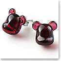 Baccarat BearBrick Silver, Red Crystal Stud Earrings, Pair