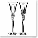 Waterford Crystal, Lismore Diamond Toasting Crystal Flutes, Pair, Monogram Block W