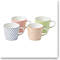 Royal Doulton Pastels Accent Mugs Set of 4 Mixed Patterns