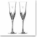 Waterford Crystal, Lismore Essence Toasting Crystal Flutes, Pair, Monogram Block V