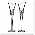 Waterford Crystal, Wishes Happy Celebrations Crystal Flutes, Pair, Monogram Block N
