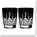 Waterford Lismore Black Crystal DOF Tumblers, Pair