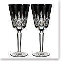 Waterford Crystal, Lismore Black Crystal Goblet, Pair